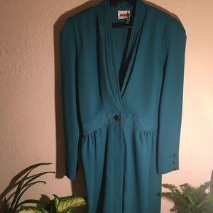80s Vintage Blue-Green Dress